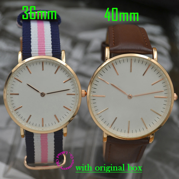 quartz fashion men Watches women wristwatch 36mm 40mm rose gold brand watch genuine real leather nylon strap with original box(China (Mainland))