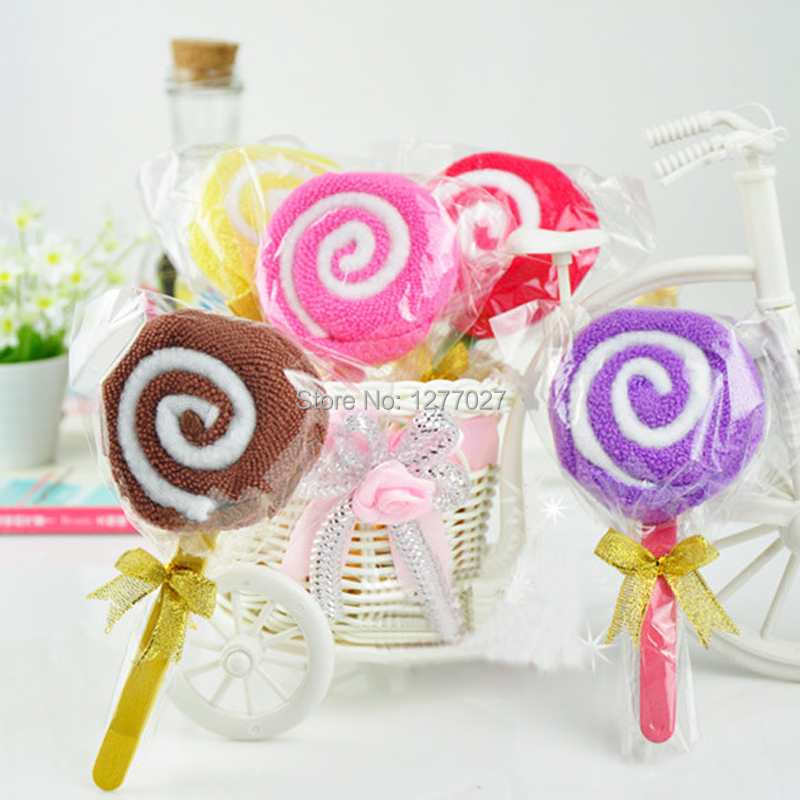 7pcs/lot Free Shipping Lollipop Design Baby Bridal Shower Towel Washcloth Wedding Party Decor Favor y9Gv(China (Mainland))