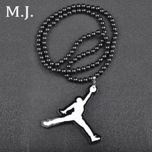 Luxury Brand Good Wood Hip Hop Necklace Men Long Beads Chain Basketball Athlete Pendant Necklaces Costume Jewelry Wholesale