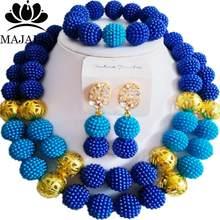 Majalia גברת אופנה סגול ובז 'סט תכשיטים אפריקאים חתונה ניגרית 2QW001 פלסטיק חרוזים כלה משלוח חינם(China)