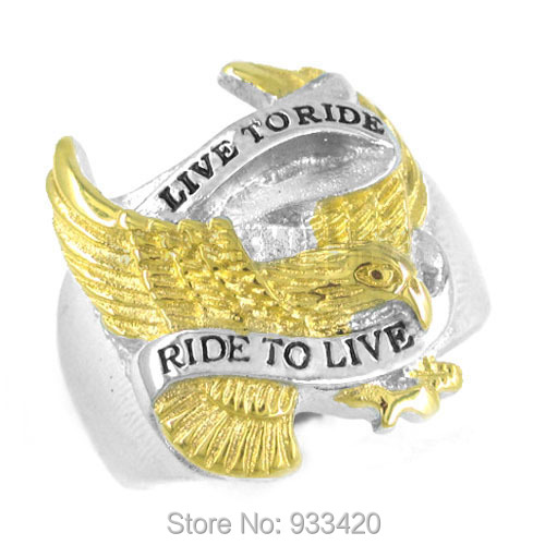Free shipping! Gold Plated Live To Ride Eagle Ring Stainless Steel Jewelry Motor Cycles Biker Ring SWR0183<br><br>Aliexpress