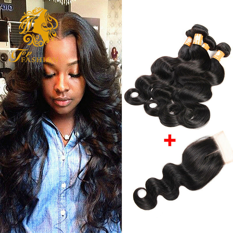 Здесь можно купить  Brazilian Virgin Hair Body Wave With Closure 4 Bundle Brazilian Hair Weave Bundles With Closure 7A Brazilian Hair With Closure  Волосы и аксессуары