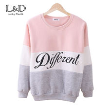 2016 Autumn and winter women fleeve hoodies printed letters Different women's casual sweatshirt hoody sudaderas EPHO80027(China (Mainland))