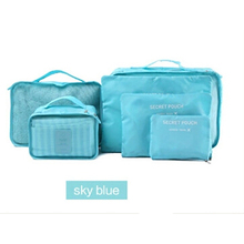 Nylon Packing Cube Travel Bag System Durable 6 Pieces One Set Large Capacity Of Sports Bags Unisex Clothing Sorting Organize Bag(China (Mainland))