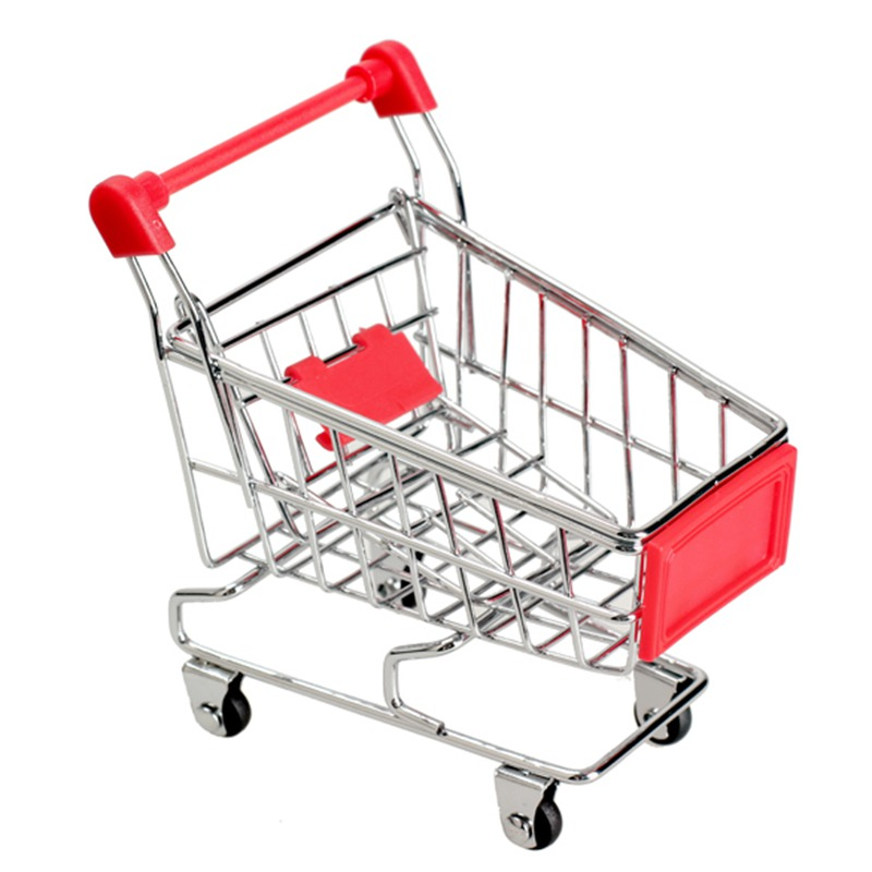 New Red Stainless Steel Mini Supermarket Handcart Shopping Utility Cart Mode Storage Toy Gift(China (Mainland))