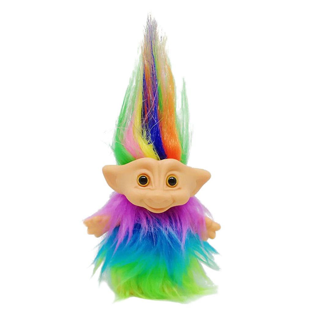 Dollhouse Miniature Colorful Hair Troll Doll Leprocauns  Figures Toy Cake Toppers Kids Children School Project