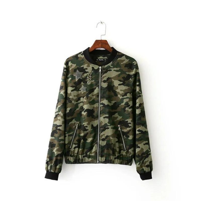 2016 Autumn Fashion Camouflage Military Jacket Women Long Sleeve Camo Jackets Jaqueta Feminina ...