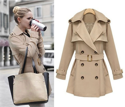 2013 New Fashion Autumn Women's Slim Fit Double-breasted Trench Coat Casual long Outwear Horn Button Beige Khaki Trench AW13J014