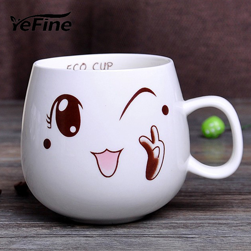 YEFINE 320ml Creative Cute Expression Ceramic Mugs Water Container Cups And Mugs Porcelain Tea Cup Coffee Mug Wholesale(China (Mainland))