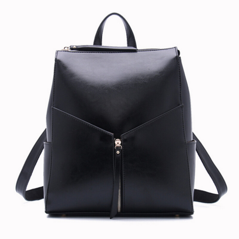 Women Black Leather Backpack Female Fashion Office Bag Ladies Work ...