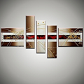 5 piece panel Abstract canvas wall red black modern picture oil painting on canvas living room