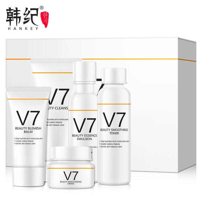 5pcs HANKEY V7 Toning Light Skin Care Set Vitamins Brighten Anti-aging Whitening Moist Cleanser BB Cream Toner Lotion Cream