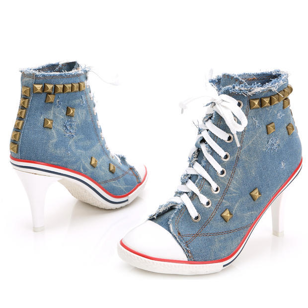 Awesome Black Denim High Heels Peep Toe Shoes High Heels Boots Ankle Shoes