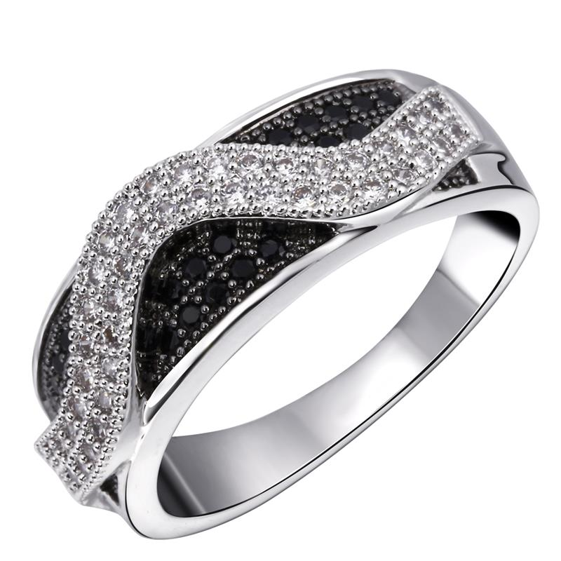 Love Deluxe Earrings-Fashion Women's Ring Black White Color Block Ring Cubic Zircon Platinum & Gun 2-Tone Plated Free Shipping(China (Mainland))
