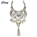 Gros Collier Femme 2016Necklaces Pendants Flower Gold Silver Tassel Coin Collares Colgantes Mujer Sherlock Moda Accesorioes