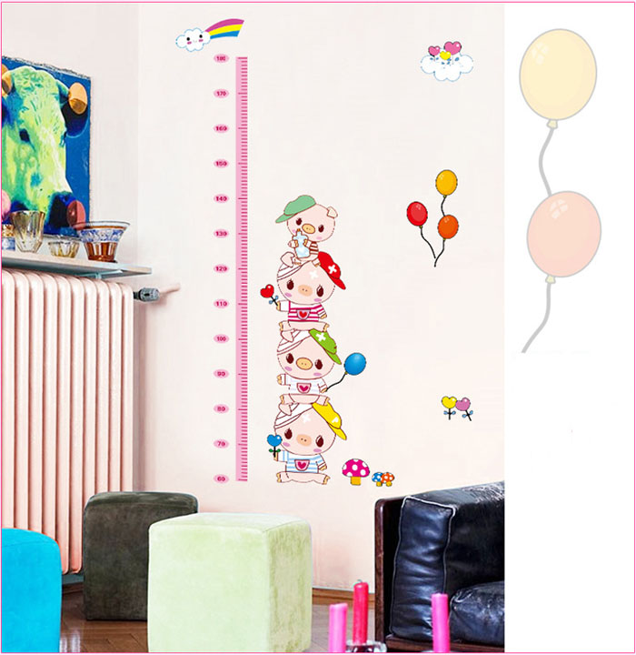 [Saturday Monopoly] diy home decor cute pig kids height stickers for nursery house interior wall decoration pvc decals bricolage