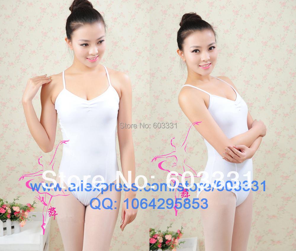 Brand New White Adult Ladies Women's Cotton Ballet Yoga Fitness Gymnastics Dance Leotard Lace Size M/L/XL - dance dress store