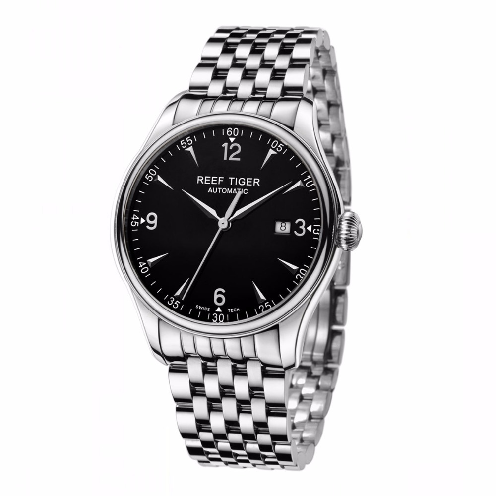 Reef Tiger/RT Watches Free Shipping Best Selling Automatic Men Dress Date Designer Watch Full Stainless Steel Watches RGA823(China (Mainland))