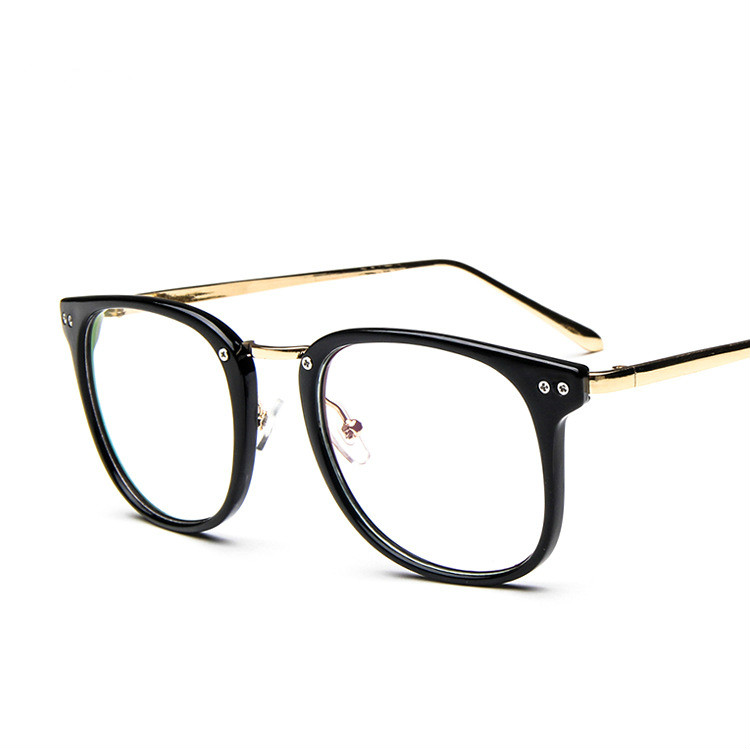 Large Gold Frame Glasses : 2015 Rivets Big frame clear lens women Fashion glasses ...