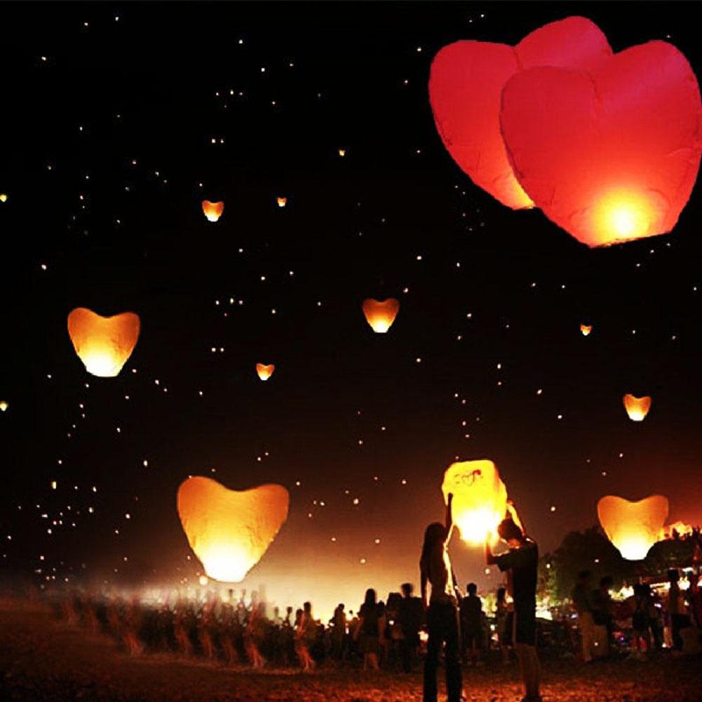 Hot Flying Wishing Lamp Hot Air Balloon Kongming Lantern Cute Love Heart Sky Lantern Party Favors For Birthday Party(China (Mainland))