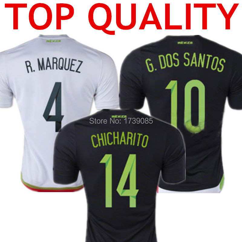CHICHARITO Mexico Jersey 2015 Mexico Soccer Jerseys 15 16 Away Black Mexico 2015 G.DOS SANTOS Home White Shirt Top Thai Quality(China (Mainland))