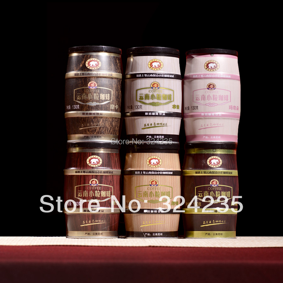 Yunnan coffee bean Small grain coffee canned 6 tank instant three in 8 flavor coffee powder