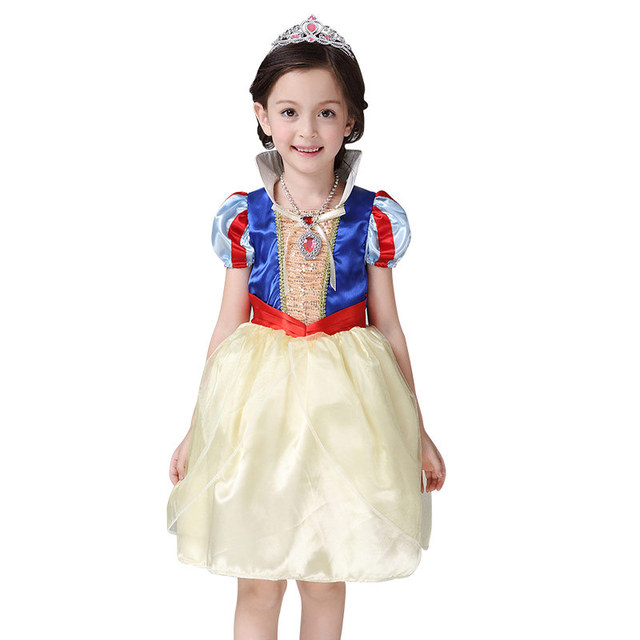 2016 New Girls Cinderella Dresses Children Snow White Princess Dresses  Kids Party Halloween Costume Clothes