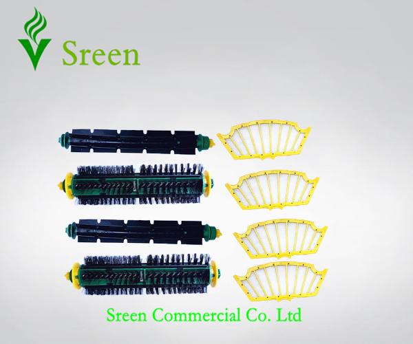 2 x Vacuum Cleaner Bristle Brush & Flexible Beater Brush & 4 Filters for iRobot Roomba 500 Series 510 520 530 540 550 560 570(China (Mainland))