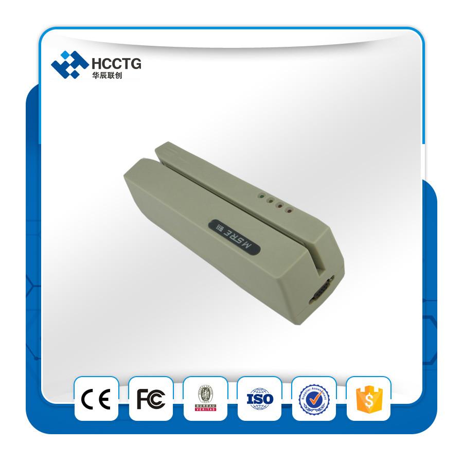 RS232/USB portable 3 Tracks Manual magnetic stripe/ usb msr card reader --HCC206(China (Mainland))