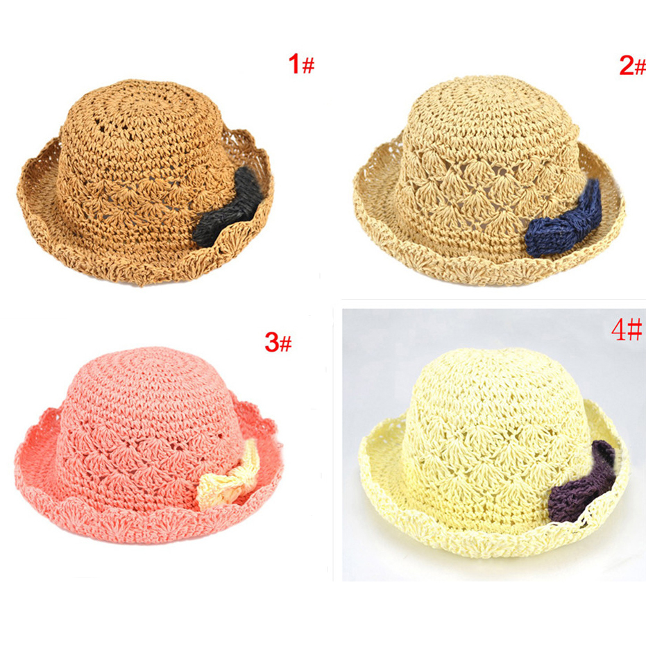 Fashion kids sun hats Straw Braid summer children Sunbonnet Designed bow 2-5 years 1 BS041 - Anne Accessories Shop store
