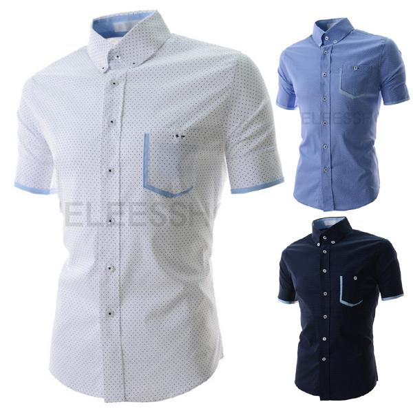 2015 fashion casual social mens dress shirts summer plain short sleeve hombre blusas slim fit camisas masculina  -  DT boutique store