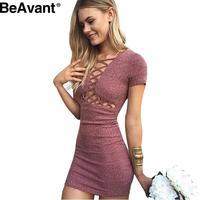 BeAvant Autumn winter knitted lace up girls dress vestidos Elegant party short sleeve dress women 2016 Sexy red bodycon dress
