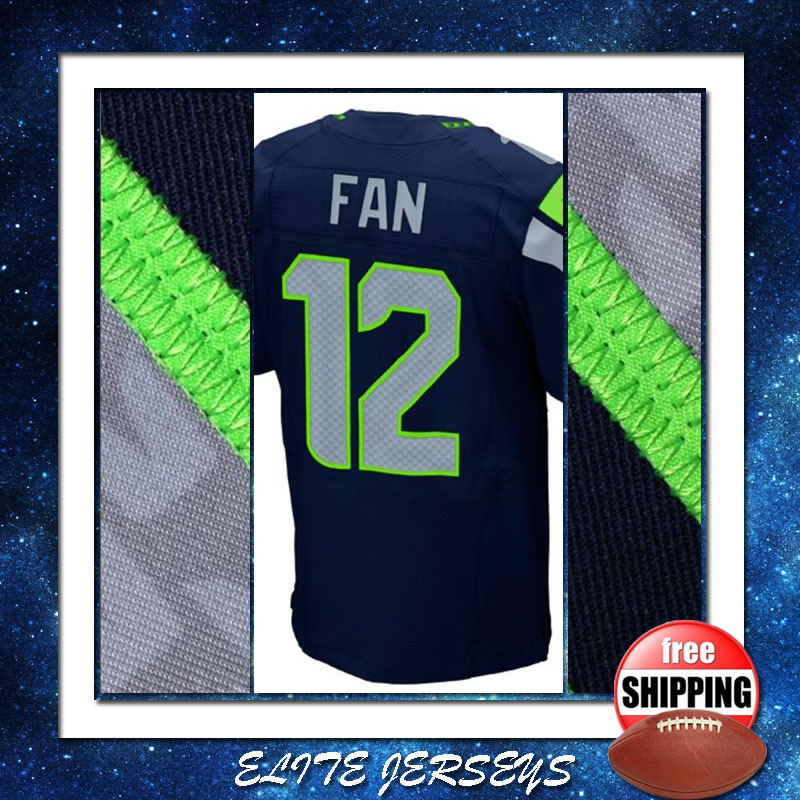2015 #12 12th Fan Jersey in Navy Mens Elite Sport Gear 100% Stitched American Football Jersey Size 40 44 48 52 56 Fast Shipping(China (Mainland))