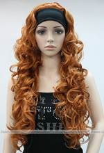 free shipping~~~Brown-yellow Long Curly Wave women Daily 3/4 half wig Hivision