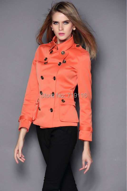 Free shipping 2015 Short Trench Coats Spring New Fashion British Brand Original Double Breasted Size S-XL, Khaki Orange BlackОдежда и ак�е��уары<br><br><br>Aliexpress