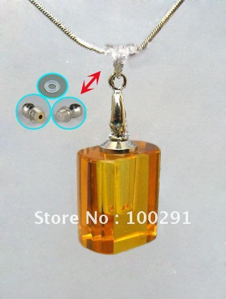 Bulk TOP SELLING crystal necklace AQE06 pendant/Perfume bottles pendant/essential oil bottle transparent square shape