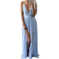 Elegant Fashion Sexy Floor length Long Boho Beach Dress Sleeveless Spaghetti Strap Split Summer Chiffon Women