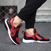 Free Shipping New 2016 Contrast Color Casual Shoes Men Plus Size Leisure Outdoor Shoes Neon Man Autumn Spring Zipper Joker Shoes
