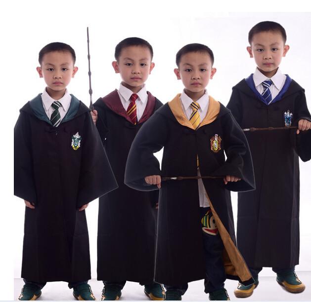 Harry Potter Cape Robe cap quatre College gryffondor Cosplay Costume enfants adultes Cape Robe cap 4 styles Halloween cadeau 10 taille(China (Mainland))