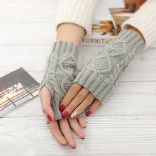 Winter Unisex Arm Warmer Elbow geometric Long Fingerless Mitten Knitted Soft Gloves(China (Mainland))