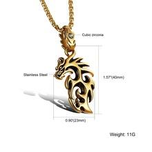 Punk Gold Silver Men s Titanium 316L Stainless Steel Hollow Dragon Pendant Necklaces Flat Chain 55cm