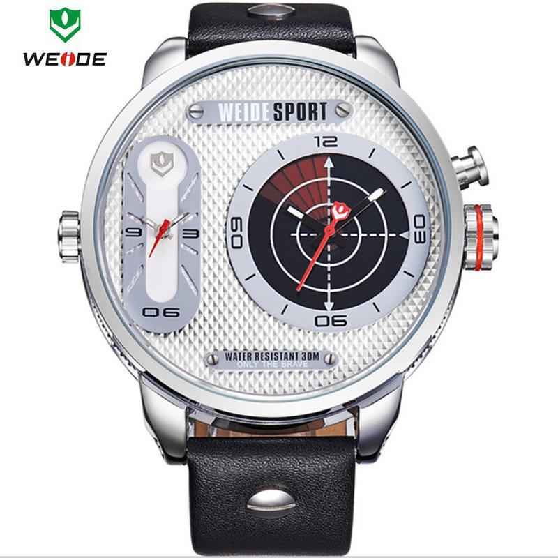 WEIDE 2015 Fashion Quartz Casual Watch Mens Leather Wrist Strap Analog With Flash Display Waterproof Quartz relogio masculino(China (Mainland))