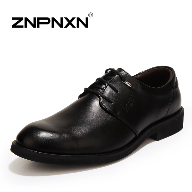 Mens Shoes casual Flats PU Leather new Men Oxfords, Lace-Up Business Wedding Shoes, Dress