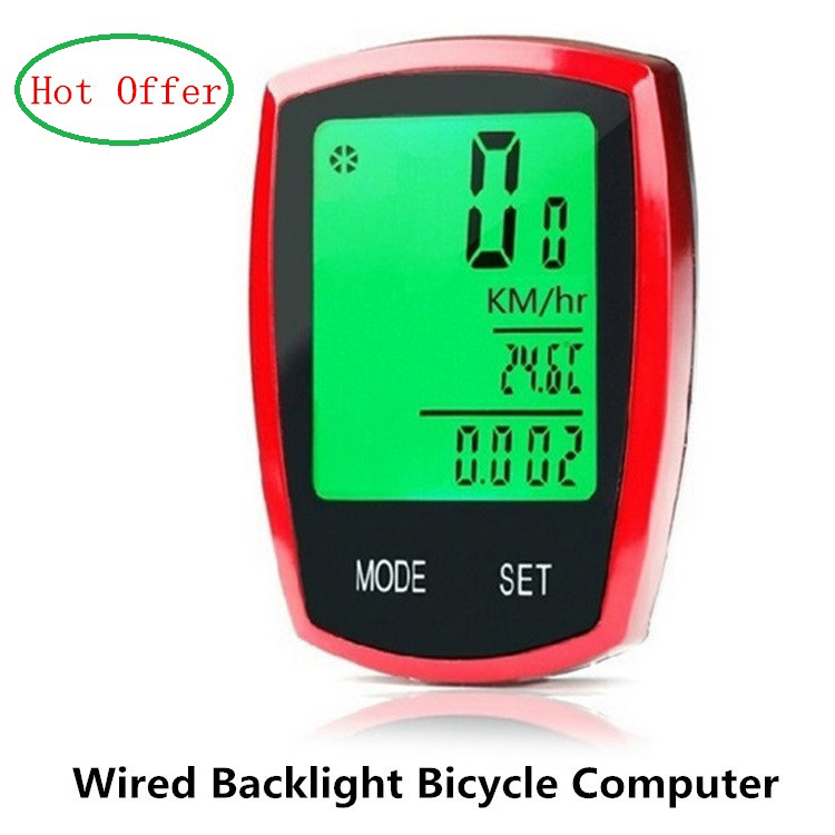 Hot offer Waterproof Bike Bicycle Speedometer Computer Backlight Wired Large Screen Cycling Cycle Odometer Bike Stopwatch MC011(China (Mainland))