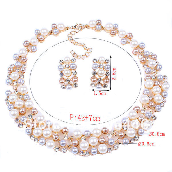 Gold Tone Luxury Gorgeous Wedding Jewelry Sets Tricolor Pearl Rhinestone Crystal Diamante Prom Party Bridal Necklace Earrings  -  Yiwu Liangqian Accessories Firm (Mini Order>$8 store)