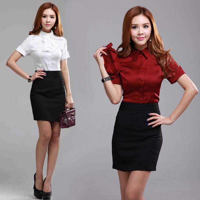 2015 Fashion Slim Women Skirt Suits Shirt & Skirts Ladies OL Sets Work Wear Ruffles Red Plus Size XXXL - Kidmall Online Store store