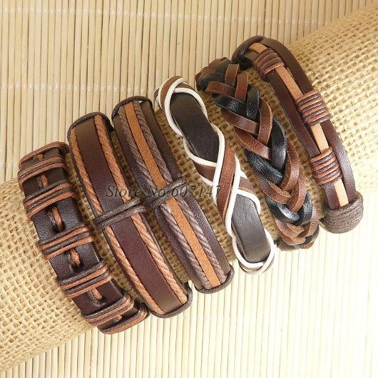 2016 New Wholesale 6pcs Handmade Weave Wrap Hemp&Genuine Charm brown punk bracelet leather for men femme pulseira masculina S160(China (Mainland))