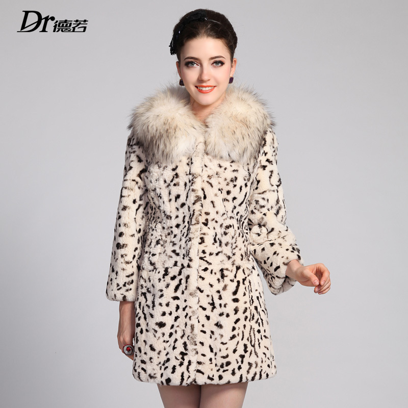 High Quality 2013 Women's Real Leopard Printed Rex Rabbit Fur Coat with Raccoon Fur Collar Female Winter Outerwear(China (Mainland))