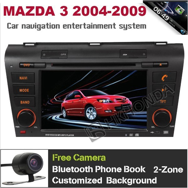 HD Car DVD GPS Navi Radio RDS PIP USB Headunit Autoradio For MAZDA 3 2004 - 2009,support steering wheel ,Free map