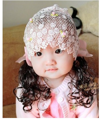 Fashion baby Flower Headbands Kids hair band Wear lace hairnet female Girl long wig children hair accessories Free shipping(China (Mainland))